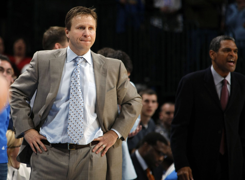 Oklahoma City head coach Scott Brooks reacts to a call during the NBA basketball game between the Oklahoma City Thunder and the Phoenix Suns, Sunday, Dec. 19, 2010, at the Oklahoma City Arena. Photo by Sarah Phipps, The Oklahoman