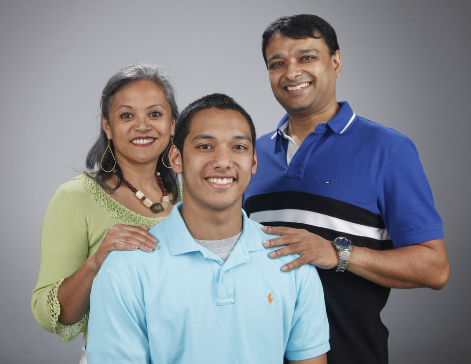 HIGH SCHOOL SWIMMING / JOCELYN NAIK / FAMILY: All-City Swimmer Naresh Naik with his parents Jocelyn and Kam Naik at OPUBCO studio Monday April 2, 2012. Photo by Doug Hoke, The Oklahoman