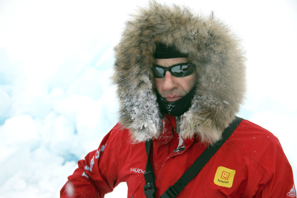 Photo - Doug Beall during the North Pole adventure.  Photo Courtesy of Doug Beall