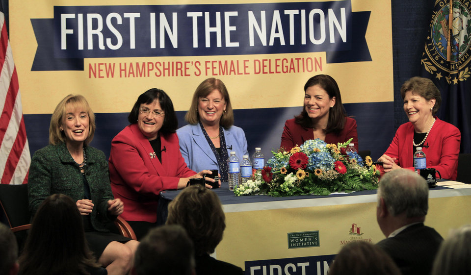 The five women holding NewHampshire's top political offices, from left, Gov.-elect Maggie Hassan, U.S. Reps.-elect Ann McLane Kuster and Carol Shea-Porter, and U.S. Sens. Kelly Ayotte and Jeanne Shaheen discuss what their lives are like as female politicians during a panel discussion Friday Dec. 7, 2012 at the Institute of Politics at Saint Anselm College in Manchester, N.H. (AP Photo/Jim Cole)