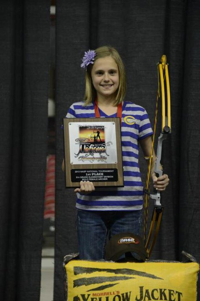 Riane Tuthill, a fifth-grader at Chickasha, won a national championship last weekend at the National Archery in the Schools tournament in Louisville, Ky. PHOTO PROVIDED