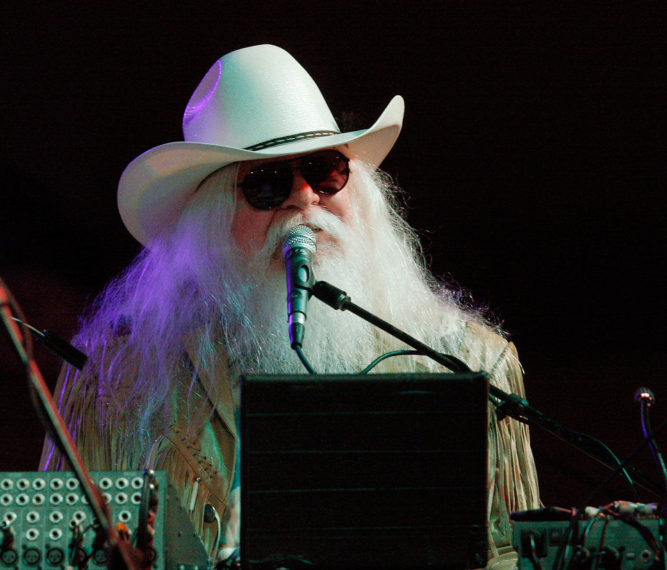 Photo -  Rock and Roll Hall of Famer Leon Russell performs at the Oklahoma State Fair in 2011. [Photo by Jim Beckel, The Oklahoman]