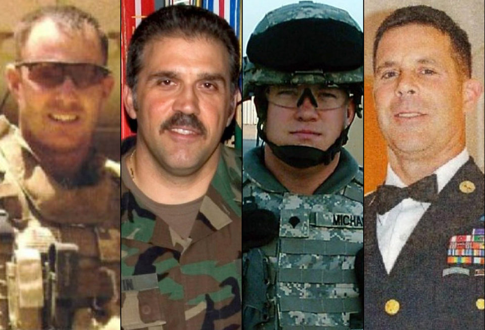 Photo -   This combination of undated family photos provided by the Show of Support, Hunt for Heroes committee show, from left: Sgt. Maj. Gary Stouffer, 37; Sgt. Maj. Lawrence Boivin, 47; Army Sgt. Joshua Michael, 34, and Sgt. Maj. William Lubbers, 43, four veterans killed when a parade float they were riding on was struck by a freight train at a crossing Thursday, Nov. 15, 2012, in Midland, Texas. (AP Photo/Courtesy Show Of Support)