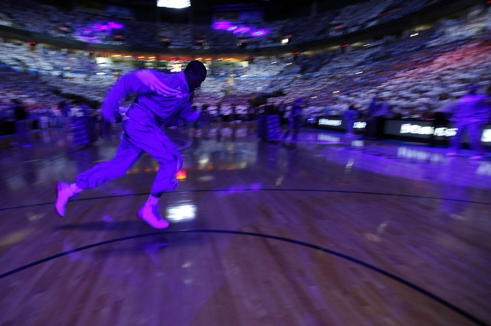 Photo - Oklahoma City's Serge Ibaka goes through pre-game warm-ups during Game 2 in the second round of the NBA playoffs between the Oklahoma City Thunder and the L.A. Lakers at Chesapeake Energy Arena on Wednesday,  May 16, 2012, in Oklahoma City, Oklahoma. Photo by Chris Landsberger, The Oklahoman