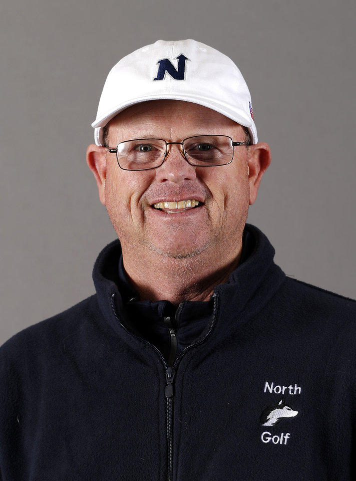 Photo - Edmond North boys golf coach Jeff Doherty poses for a mug during the spring high school sports photo day in Oklahoma City, Wed. Feb. 27, 2013. Photo by Bryan Terry, The Oklahoman