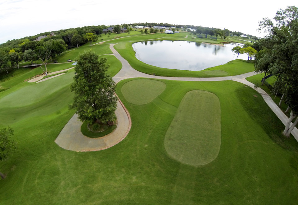 Photo - 7th green and 6th tee. Aerials of Oak Tree National course in Edmond, site of the 2014 U.S. Senior Open, Tuesday, July 1, 2014. Photo by Carl Shortt, Jr., for The Oklahoman