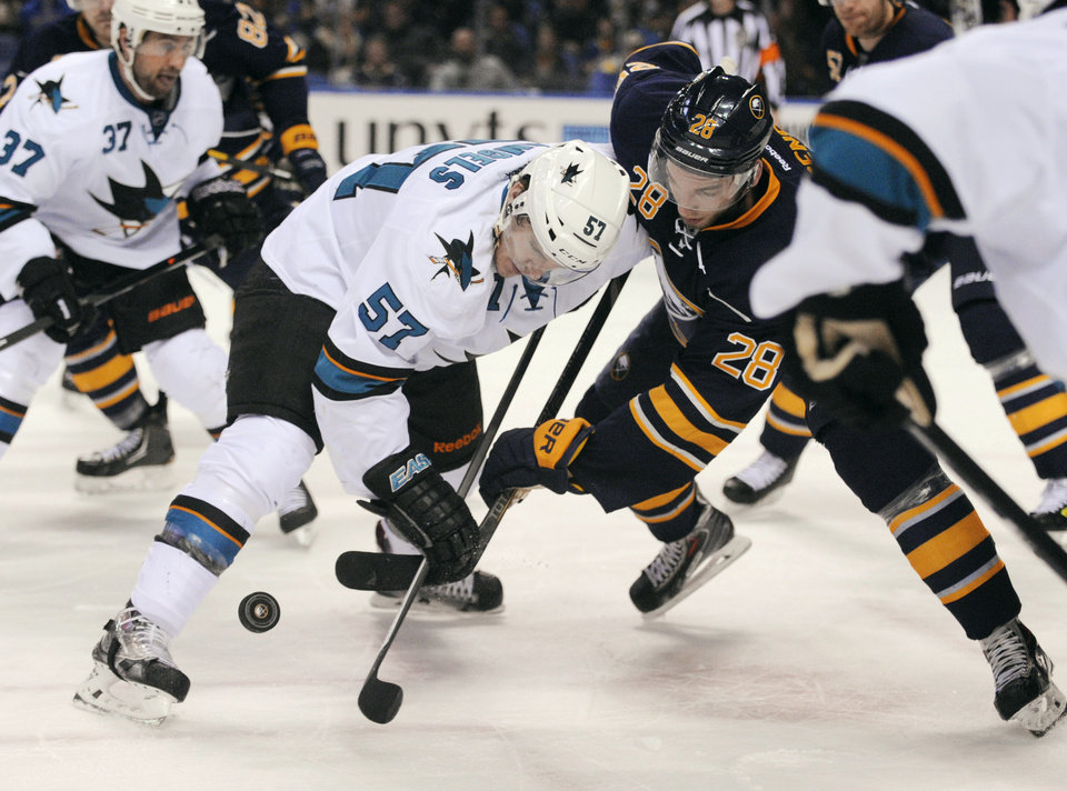 Photo - San Jose Sharks center Tommy Wingels (57) wins a face-off against Buffalo Sabres center Zemgus Girgensons (28), of Latvia, during the second period of an NHL hockey game in Buffalo, N.Y., Friday, Feb. 28, 2014. (AP Photo/Gary Wiepert)