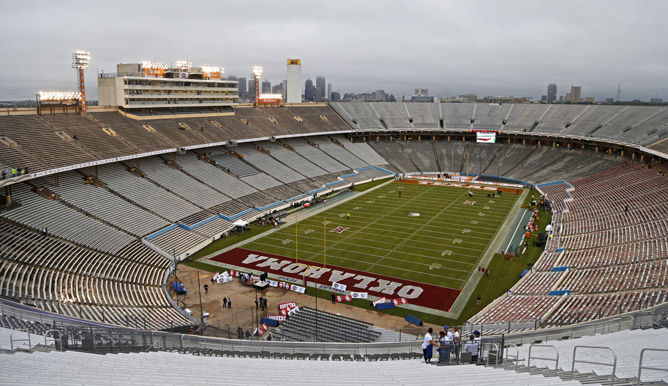 Photo - The Cotton Bowl is seen before the Red River Showdown college football game between the University of Oklahoma Sooners (OU) and the University of Texas Longhorns (UT) at the Cottonbowl in Dallas on Saturday, Oct. 11, 2014. 