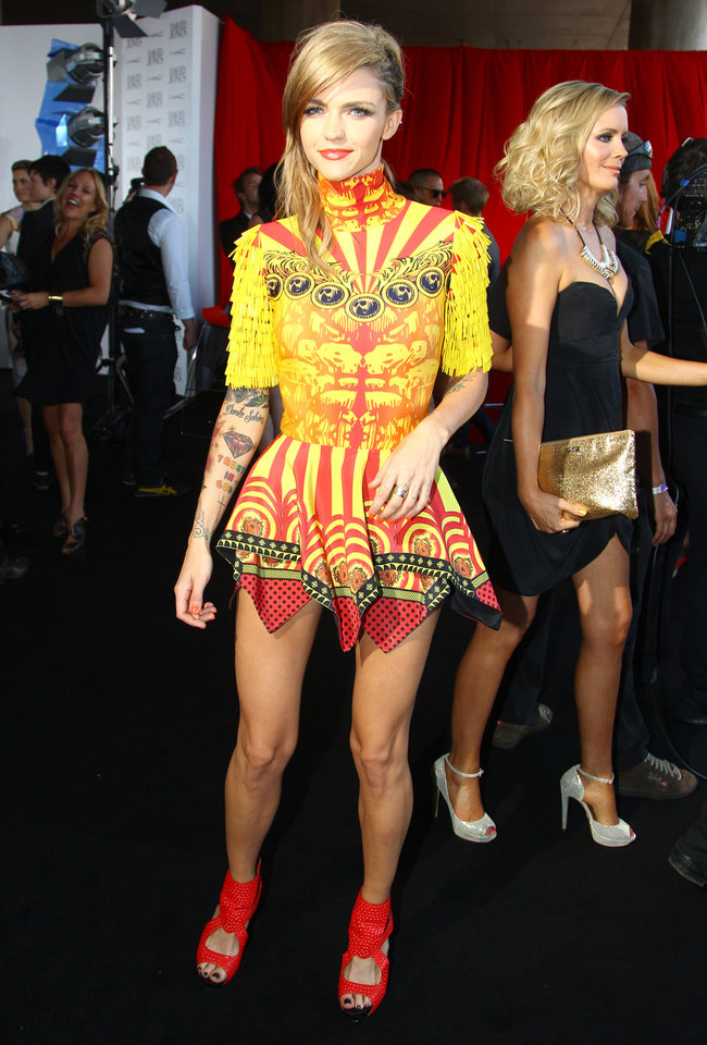 Ruby Rose arrives for the Australian music industry Aria Awards in Sydney, Thursday, Nov. 29, 2012. (AP Photo/Rick Rycroft)