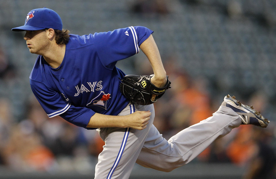 Photo -   Toronto Blue Jays pitcher Drew Hutchison throws to the Baltimore Orioles in the second inning of a baseball game in Baltimore, Thursday, April 26, 2012. (AP Photo/Patrick Semansky)