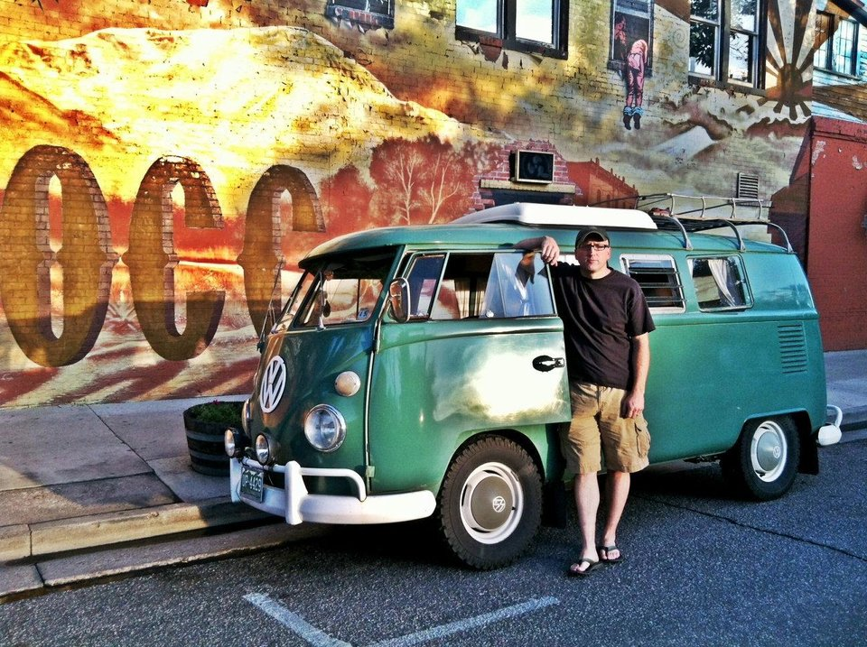 Greg Triebel, of Colorado Springs, is pictured in this recent photo with his own Volkswagen van. In 2007, Triebel helped another Volkswagen van on a cross country journey get out of Oklahoma CIty when it broke down. <strong>Provided - Provided by Greg Triebel</strong>