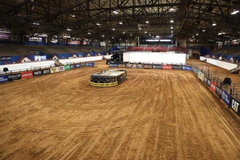 Photo -  The Lazy E Arena near Guthrie is being prepared to host a PBR bull riding event with no fans on Saturday and Sunday. [PHOTO BY ANDY WATSON]