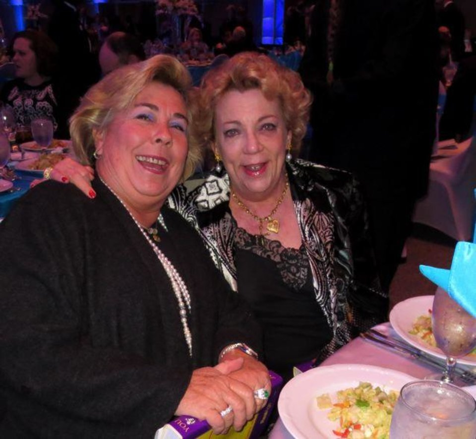 Cathy Freede and Barbara Beeler were at the dinner. Also on the program were Mike Turpen and Burns Hargis, David L. Boren, Harold Hamm, Gov. Mary Falin. (Photo by Helen Ford Wallace).