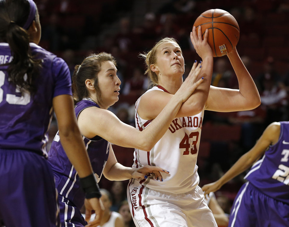 Oklahoma's Tara Dunn (43) fouled by TCU's Caitlin Diaz (32) during a women's college basketball game between the University of Oklahoma and TCU at the Llyod Noble Center in Norman, Okla., Wednesday, Jan. 30, 2013. Oklahoma won 74-53. Photo by Bryan Terry, The Oklahoman