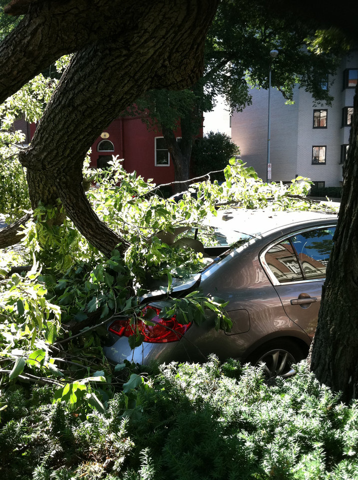 Photo -   A tree toppled by severe storms sits atop a car in Washington's Dupont Circle neighborhood on Saturday, June 30, 2012 in Washington. More than two million people across the eastern U.S. lost power after violent storms and two people died, including a 90-year-old woman asleep in bed when a tree slammed into her home, a police spokeswoman said Saturday. (AP Photo/Jessica Gresko)