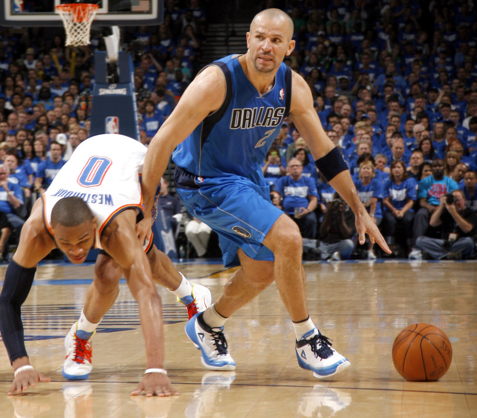 Jason Kidd (2) of Dallas gets by Oklahoma City\'s Russell Westbrook (0)during game 3 of the Western Conference Finals of the NBA basketball playoffs between the Dallas Mavericks and the Oklahoma City Thunder at the OKC Arena in downtown Oklahoma City, Saturday, May 21, 2011. Photo by Sarah Phipps, The Oklahoman
