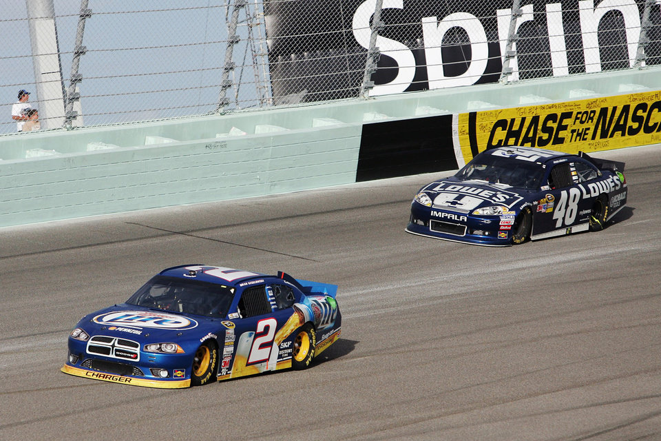 Photo -   Brad Keselowski (2) and Jimmie Johnson (48) compete during the NASCAR Sprint Cup Series auto race at Homestead-Miami Speedway, Sunday, Nov. 18, 2012, in Homestead, Fla. (AP Photo/The Miami Herald, Andrew Uloza) MAGS OUT