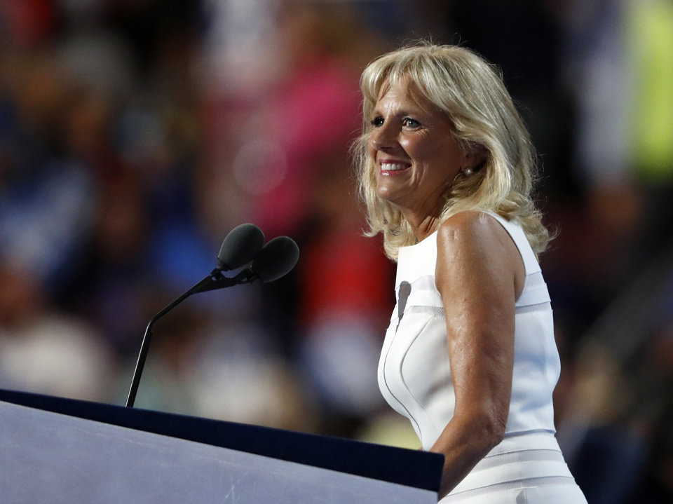 Photo - Dr. Jill Biden, wife of Vice President Joe Biden, speaks during the third day of the Democratic National Convention in Philadelphia , Wednesday, July 27, 2016. (AP Photo/Paul Sancya)