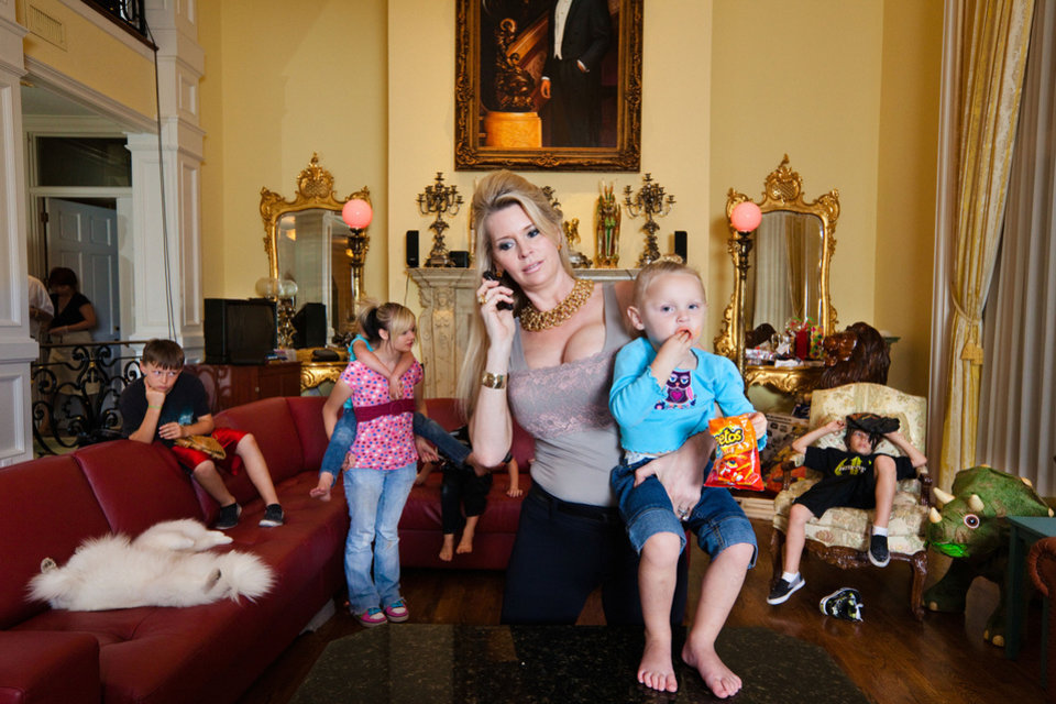 Photo - Jackie Siegel is shown with her children during the filming of a documentary,