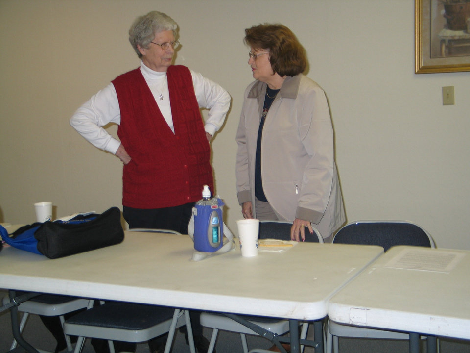 Ruth Shaw and Annette Hill discuss museum progress at the Harrah Historical Society�s Centennial Celebration, November 15<br/><b>Community Photo By:</b> Karen Erbin, editor<br/><b>Submitted By:</b> Karen, Harrah