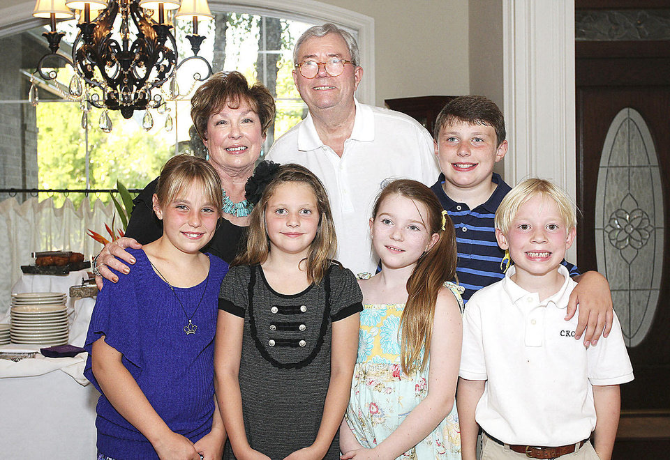 Shown with Bev and David Carter are grandchildren Cate, 10, Lizzie, 7, Isabel, 10, David III, 12, and Colin, 7.  PHOTOS BY DAVID FAYTINGER, FOR THE OKLAHOMAN