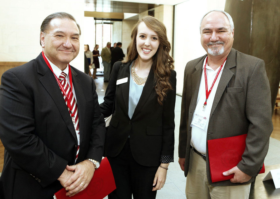Photo - Bob Burke, Lauren King, and Bill Moore attend the University of Oklahoma (OU) Gaylord College of Journalism's Centennial Celebration luncheon on Friday, Sept. 6, 2013 in Norman, Okla.  Photo by Steve Sisney, The Oklahoman