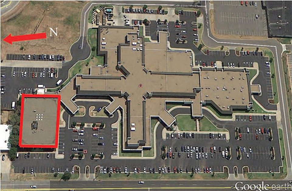 Photo -  An aerial view of Moore Medical Center before the 2013 tornado. Source: Google Earth