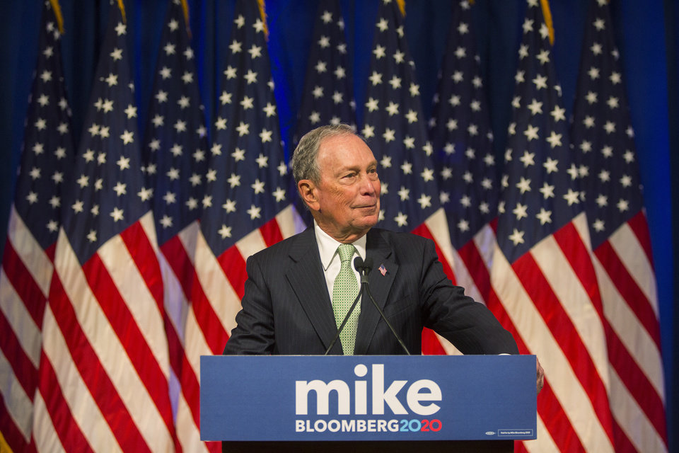 Photo - Democratic Presidential candidate, Michael Bloomberg during remarks to the media at the Hilton Hotel on his first campaign stop in Norfolk, Va. Monday, Nov. 25, 2019. (AP Photo/Bill Tiernan)
