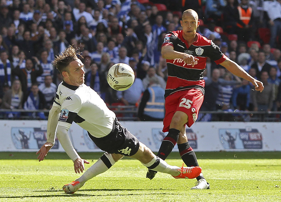 Photo - Queens Park Rangers' Bobby Zamora scores his side's  goal during the English Championship Play Off Final  against Derby County at Wembley Stadium, London Saturday May 24, 2014. QPR won the match 1-0 and gained promotion to the English Premier League next season. (AP Photo/John Walton/PA) UNITED KINGDOM OUT