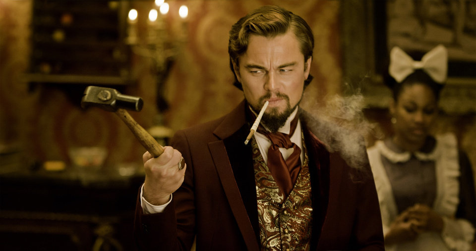 "This undated publicity image released by The Weinstein Company shows Leonardo DiCaprio as Calvin Candle in ""Django Unchained,"" directed by Quentin Tarantino. DiCaprio was nominated Thursday, Dec. 13, 2012 for a Golden Globe for best supporting actor for his role in "" Django.""  The 70th annual Golden Globe Awards will be held on Jan. 13.   (AP Photo/The Weinstein Company, Andrew Cooper, SMPSP)"