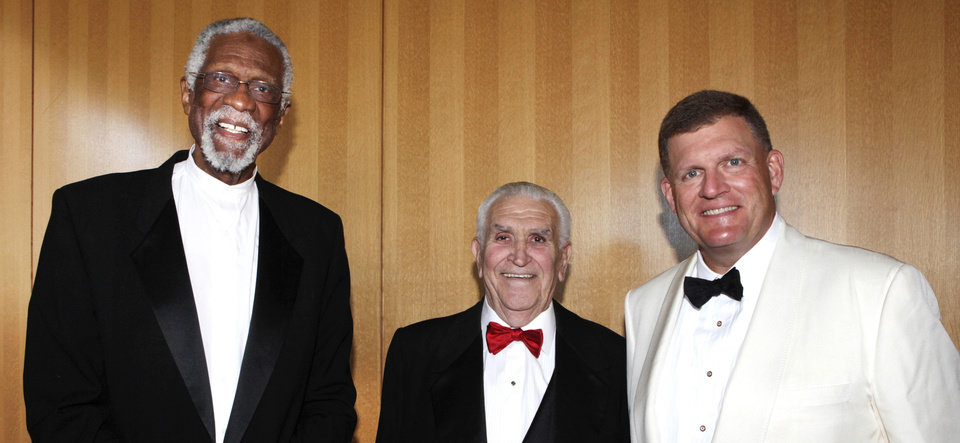 CLAYTON BENNETT / CLAYTON I. BENNETT / INDUCT / INDUCTION: NBA legend Bill Russell, Lee Allan Smith and inductee Clay Bennett at the Oklahoma Sports Hall of Fame Banquet, Monday, August 5, 2013. Photo by David McDaniel, The Oklahoman