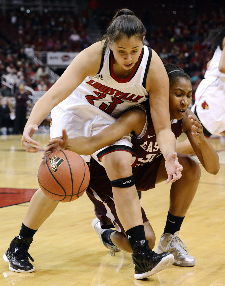 Louisville's Shoni Schimmel, left, battles Eastern Kentucky's LaRa'e Allen for a loose ball during the first half of their NCAA college basketball game, Wednesday, Nov. 28, 2012, in Louisville, Ky. (AP Photo/Timothy D. Easley)