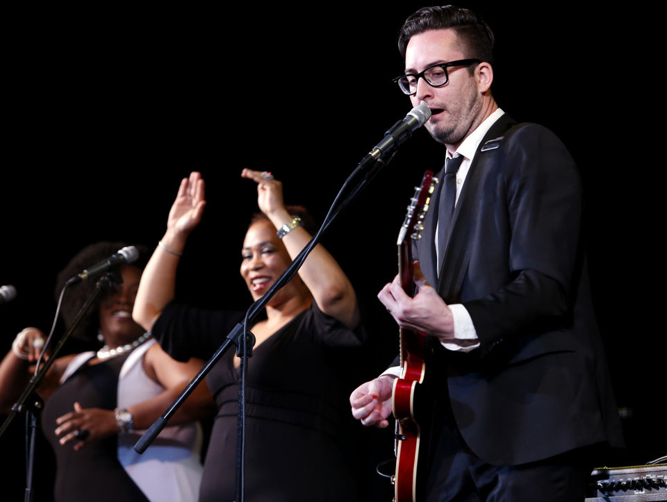 Photo - Matt Stansberry and the Romance perform on the Sooner Theater Stage during the Norman Music Festival on Saturday, April 26, 2014 in Norman, Okla.  Photo by Steve Sisney, The Oklahoman