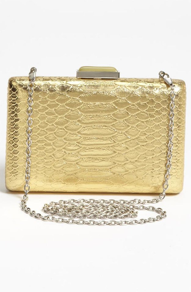 Jaime King is more of a fashion risk-taker than the Southern Belle character she plays. Get her look with this Expressions NYC snake embossed box clutch ($48 at Nordstrom.com). (Nordstrom.com/Los Angeles Times/MCT)