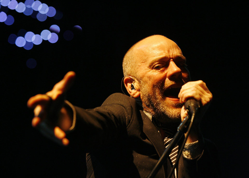 FILE - In this Sept. 24, 2008 file photo, Michael Stipe, frontman of the rock band R.E.M., performs on stage at the Hallenstadion in Zurich, Switzerland. The band\'s 1987 single