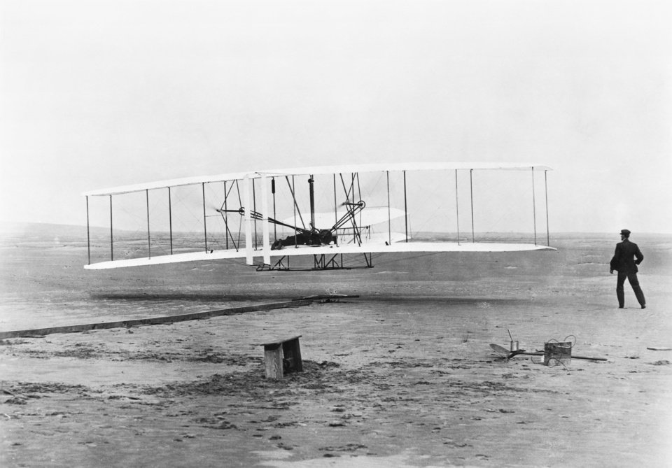 Photo - The National Archives preserves and protects photos of the nation's history, like this one of the Wright Brothers' original 1903 Aeroplane