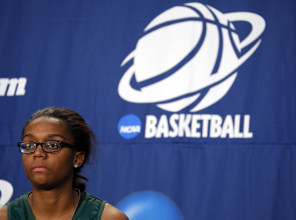 Photo - Brooklyn Pope speaks during the press conference and practice day at the Oklahoma City Regional for the NCAA women's college basketball tournament at Chesapeake Energy Arena in Oklahoma City, Saturday, March 30, 2013. Photo by Sarah Phipps, The Oklahoman