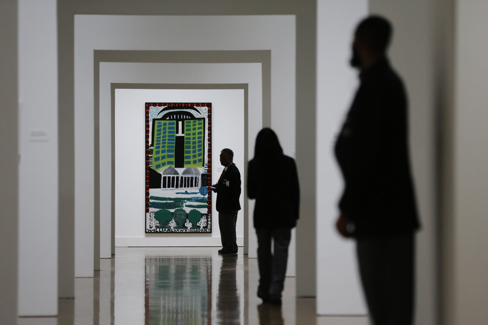 """Photo - A William Hawkins painting titled Green Towers is seen during a press preview for """"Great and Mighty Things"""": Outsider Art from the Jill and Sheldon Bonovitz Collectionat the Philadelphia Museum of Art Friday, March 1, 2013, in Philadelphia. The exhibition is scheduled to run from March 3, 2013 - June 9, 2013. (AP Photo/Matt Rourke)"""