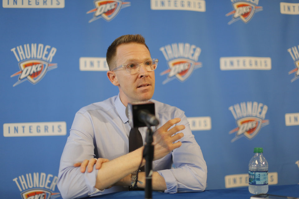 Oklahoma City Thunder General Manager Sam Presti gave his assessment of the Thunder's season and discussed plans and options for the team's future during a  media availability session at the Thunder practice facility Thursday, June 5, 2014.   Photo by Jim Beckel, The Oklahoman