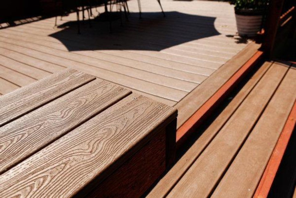 Environmentally friendly materials were used to build the deck at Chris Wright\'s home at 2329 NW 55. Photo by Jim Beckel, The Oklahoman JIM BECKEL