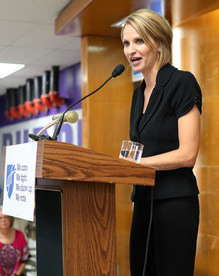 Photo - Senate candidate Carri Hicks speaks during an AFT education rally at Northwest Classen High School, Saturday, September, 22, 2018.  Photo by Doug Hoke, The Oklahoman