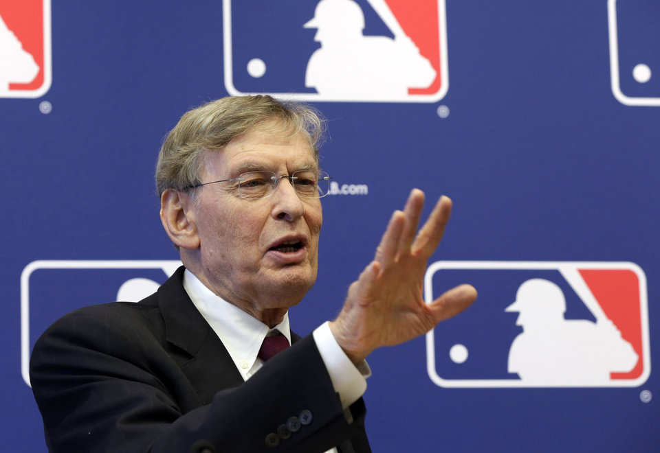 Photo - In this May 16, 2013, photo, baseball Commissioner Bud Selig answers a question during a news conference at Major League Baseball headquarters in New York. Alex Rodriguez has accepted his season-long suspension from Major League Baseball, the longest penalty in the sport's history related to performance-enhancing drugs. Rodriguez withdrew his lawsuits against Major League Baseball, Selig and the players' association to overturn his season-long suspension on Friday, Feb. 7, 2014. The notices of dismissal were filed in federal court in Manhattan. (AP Photo/Richard Drew)