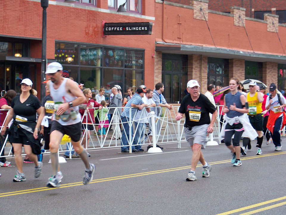 2012 OKC Memorial Marathon- 71 yr old Strippy Biggers in the home stretch