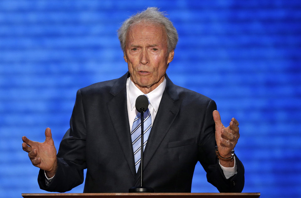 Photo -   Actor Clint Eastwood addresses the Republican National Convention in Tampa, Fla., on Thursday, Aug. 30, 2012. (AP Photo/J. Scott Applewhite)