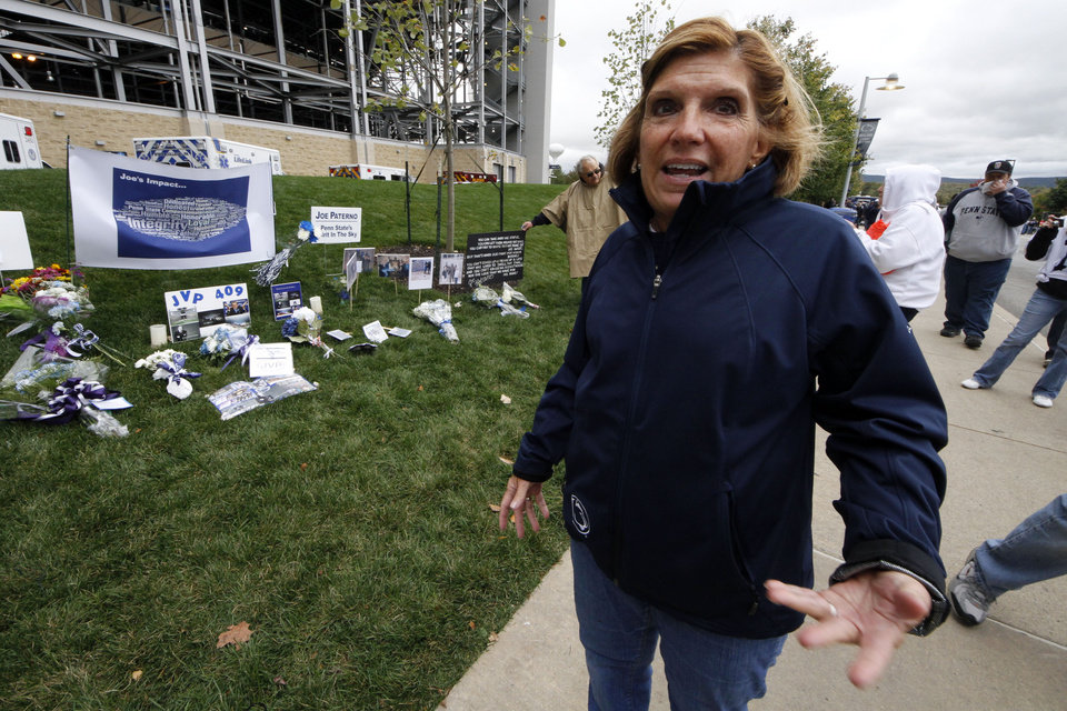 Photo -   Gayle Barnes, a member of the jury that convicted former Penn State assistant football coach Jerry Sandusky, stands outside Beaver Stadium on Saturday, Oct. 6, 2012 in State College, Pa. Jerry Sandusky should be sent to prison for life when a judge sentences him Tuesday, according to several of the jurors who convicted the former Penn State assistant coach of molesting several boys over a period of years. Barnes, a homemaker and former school district employee, said she thinks a lot about the victims, particularly the eight who testified against Sandusky and provided what she considers the critical evidence of guilt. She said he deserves life in prison. (AP Photo/Gene J. Puskar)