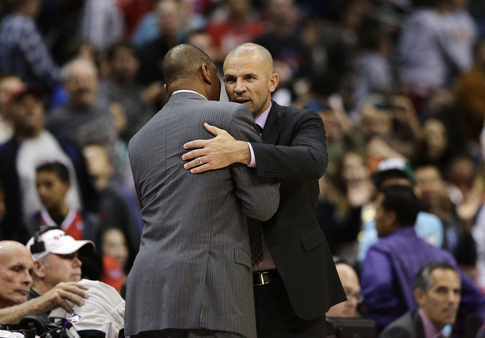 Los Angeles Clippers\' Doc Rivers, left, and Brooklyn Nets\' Jason Kidd hug after an NBA basketball game on Saturday, Nov. 16, 2013, in Los Angeles. The Clippers won 110-103. (AP Photo/Jae C. Hong)