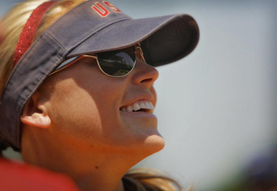 Jennie Finch during the team USA Softball practice at ASA Hall of Fame Stadium on Tuesday, July 20, 2010, in Oklahoma City, Okla.    Photo by Chris Landsberger, The Oklahoman