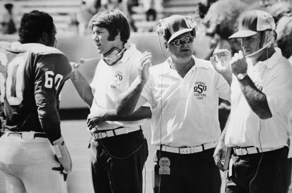 Photo - On the field Sept. 16, 1973: Oklahoma State University (OSU) football coach Jim Stanley
