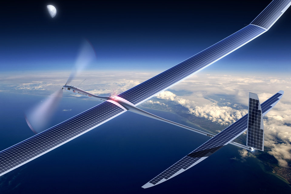 Photo -  Titan Aerospace's Solara 50 aircraft is shown. Facebook is in talks to buy Titan Aerospace, a maker of solar-powered . AP Photo    -  AP