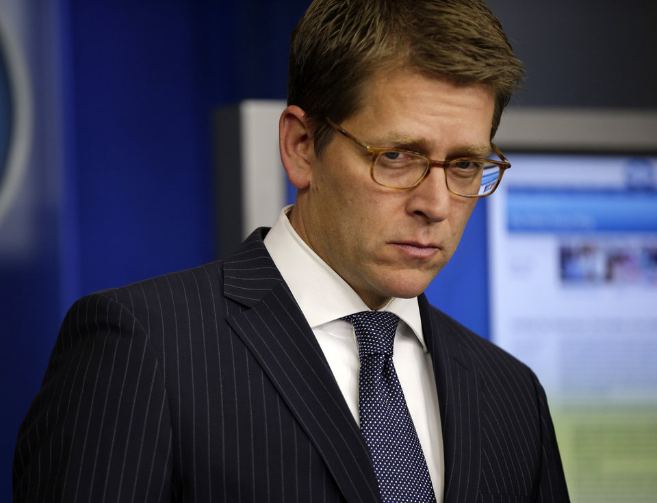 White House press secretary Jay Carney pauses before answering questions during his daily news briefing at the White House in Washington, Wednesday, Dec., 5, 2012. (AP Photo/Pablo Martinez Monsivais)